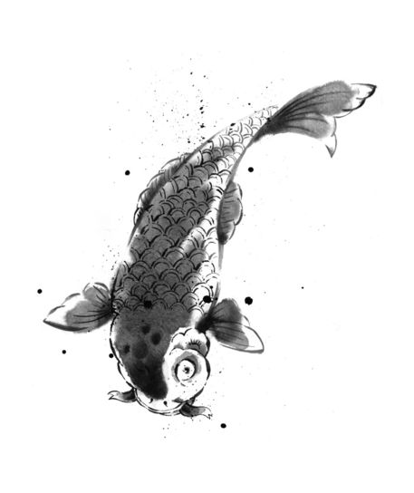 Japanese carp graphic illustration art prints and for Japanese carp art