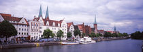 Buildings at the riverside, Trave River, Lubeck, Schleswig-Holstein, Germany von Panoramic Images