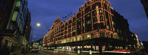 Low angle view of buildings lit up at night, Harrods, London, England by Panoramic Images