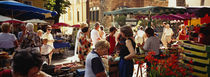 Group of people in a street market, Ceret, France by Panoramic Images