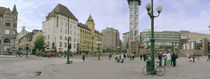 Tourists at a town square, Jernbanetorget, Oslo, Norway by Panoramic Images