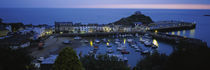 High angle view of boats docked at the harbor, Devon, England by Panoramic Images