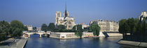 Cathedral along a river, Notre Dame Cathedral, Seine River, Paris, France by Panoramic Images