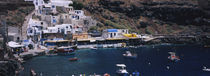 High angle view of boats in the sea, Ammoudi Bay, Oia, Santorini, Greece by Panoramic Images