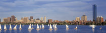 USA, Massachusetts, Boston, Charles River, View of boats on a river by a city by Panoramic Images