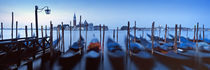 Row of gondolas moored near a jetty, Venice, Italy von Panoramic Images
