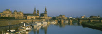 Boats Moored At A Harbor, Elbe River, Dresden, Germany von Panoramic Images