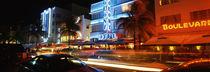 Buildings at the roadside, Ocean Drive, South Beach, Miami Beach, Florida, USA von Panoramic Images