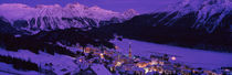 High angle view of a village, St. Moritz, Switzerland von Panoramic Images