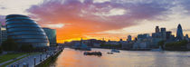 City hall with office buildings at sunset, Thames River, London, England 2010 by Panoramic Images
