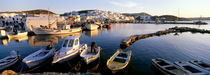 Boats at the dock in the sea, Paros, Cyclades Islands, Greece von Panoramic Images