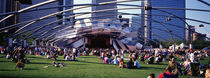 People At A Lawn, Pritzker Pavilion, Millennium Park, Chicago, Illinois, USA by Panoramic Images