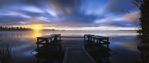 Panoramic view of a pier at dusk, Vuoksi River, Imatra, Finland von Panoramic Images
