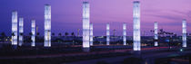 Light sculptures lit up at night, LAX Airport, Los Angeles, California, USA von Panoramic Images