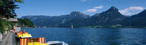 Boats moored at a dock, Wolfgangsee, Upper Austria, Austria by Panoramic Images
