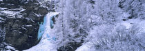 High angle view of a frozen waterfall, Valais Canton, Switzerland by Panoramic Images