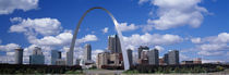 Metal arch in front of buildings, Gateway Arch, St. Louis, Missouri, USA von Panoramic Images