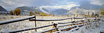 Wooden fence covered with snow at the countryside, Colorado, USA by Panoramic Images