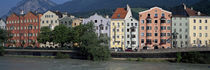 Buildings at the waterfront, Inn River, Innsbruck, Tyrol, Austria by Panoramic Images