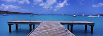 Pier with boats in the background, Sandy Ground, Anguilla by Panoramic Images