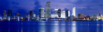 Panoramic View Of An Urban Skyline At Night, Miami, Florida, USA by Panoramic Images