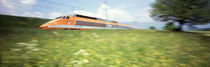 TGV High-Speed Train Moving Through Hills, Blurred Motion by Panoramic Images