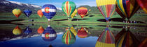 Reflection Of Hot Air Balloons On Water, Colorado, USA von Panoramic Images