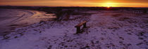 Bench On A Snow Covered Landscape, Filey Bay, Yorkshire, England, United Kingdom von Panoramic Images