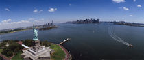 Aerial view of a statue, Statue of Liberty, New York City, New York State, USA by Panoramic Images