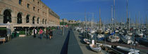 Pedestrian walkway along a harbor, Barcelona, Catalonia, Spain by Panoramic Images