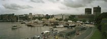 High angle view of harbor and a city hall, Oslo, Norway by Panoramic Images