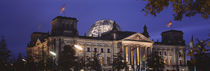 Facade of a building at dusk, The Reichstag, Berlin, Germany by Panoramic Images