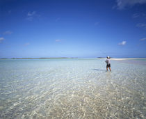 Rear view of a man fishing in the ocean, Tuamotu Archipelago, French Polynesia von Panoramic Images