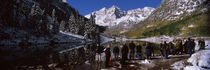 Tourists at the lakeside, Maroon Bells, Aspen, Pitkin County, Colorado, USA by Panoramic Images