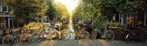 Bicycles On Bridge Over Canal, Amsterdam, Netherlands by Panoramic Images
