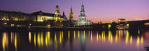 Reflection Of Buildings On Water At Night, Dresden, Germany von Panoramic Images