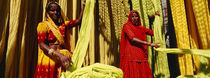 Portrait of two mature women working in a textile industry, Rajasthan, India by Panoramic Images