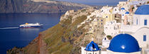 Buildings in a valley, Santorini, Cyclades Islands, Greece by Panoramic Images
