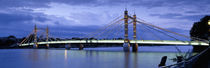 Suspension bridge across a river, Thames River, Albert Bridge, London, England by Panoramic Images