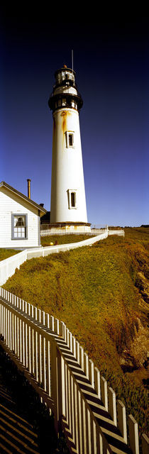 Lighthouse on a cliff, Pigeon Point Lighthouse, California, USA by Panoramic Images