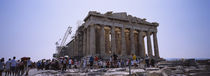 Group of people standing near a ruined building, Parthenon, Athens, Greece von Panoramic Images