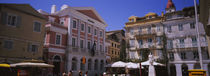 Tourist in front of buildings, Paper Money Museum, Corfu, Greece by Panoramic Images