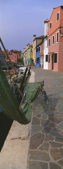 Houses along a road, Burano, Venetian Lagoon, Italy by Panoramic Images