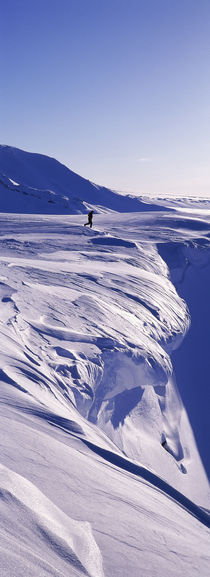 Person walking on a snow covered mountain, Snaefellsnes Peninsula, Iceland von Panoramic Images