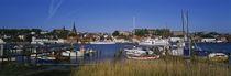 Panorama Print - Boote im Hafen angedockt Münsterland, Deutschland von Panoramic Images