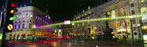 Buildings lit up at night, Piccadilly Circus, London, England by Panoramic Images