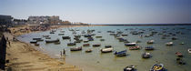 Boats moored at a harbor, Playa De La Caleta, Cadiz, Andalusia, Spain von Panoramic Images