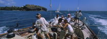 Group of people racing in a sailboat, Grenada von Panoramic Images