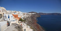High angle view of a town on an island, Oia, Santorini, Cyclades Islands, Greece by Panoramic Images