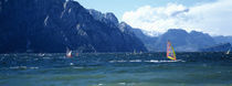 Windsurfing on a lake, Lake Garda, Italy von Panoramic Images